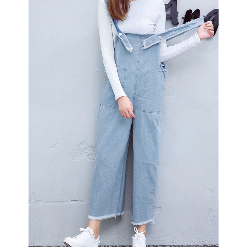 5147b44a33f Plus Size Loose 2018 Rompers Womens Jumpsuit Colorful Ankle Length Pants  Pockets Strapless Denim Overalls Casual Jeans Bodysuit-in Jumpsuits from  Women s ...