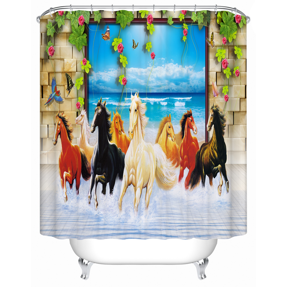 3D Horse Shower Curtain Animal Pattern Polyester Fabric Bathroom Curtain Decorative Bath Curtain for Wet Wash Room <font><b>Kids</b></font> Bath