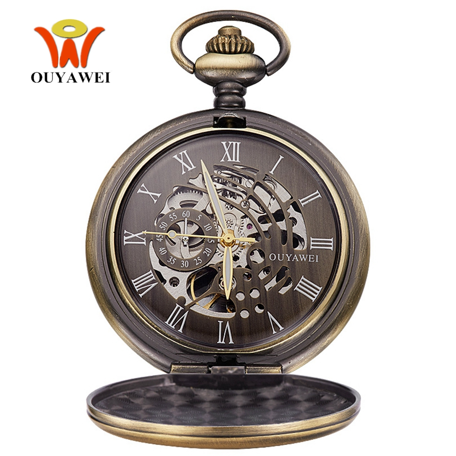 Luxury Brand Full Steel Men Vintage Bronze Pocket Watch Skeleton Dial Hand Wind Mechanical Male Fob Chain Watches Male Gift
