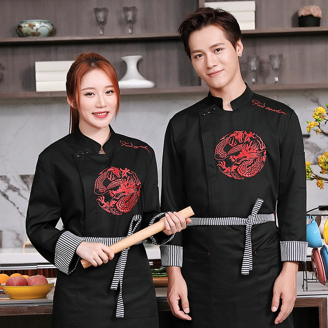 Winter Food Service men Hotel Chef Uniform long Sleeve Chef Jacket Chinese Restaurant Waiter Kitchen Uniform Cooking Clothes