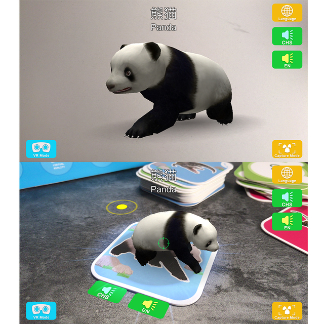 68Pcs AR 4D Fancy Zoo Magic Augmented Reality Flashcards Animal Educational Game 13 Switchable Languages Best Toy Gift For Kids