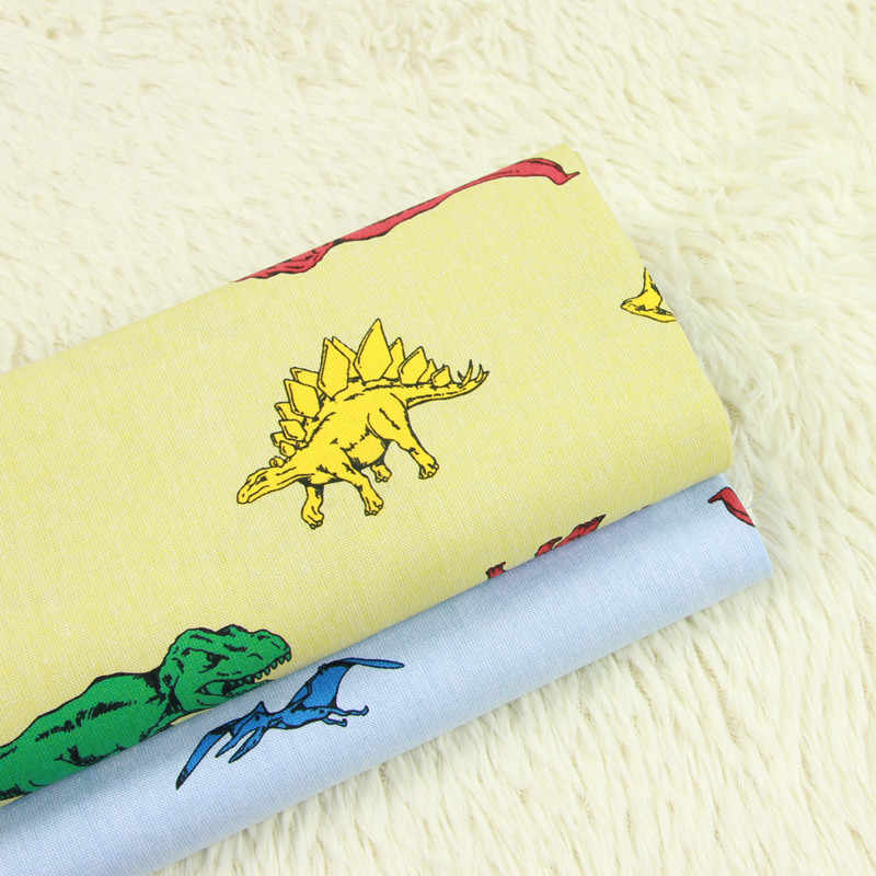 Dinosaur Printed Cotton Fabric Meters for Baby Boy Crib Infant Toddler Kids Children Bed Sheet Cushions Tent Sewing Cloth D30
