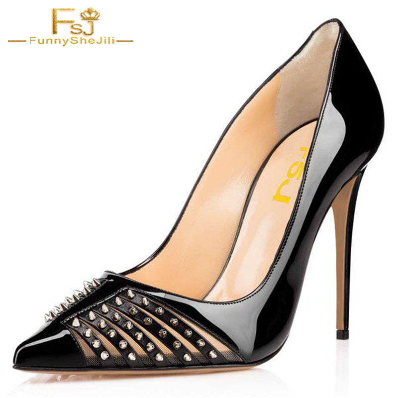 Taille Fsj Printemps Pointu Grandes Automne Pompes Chaussures Dames Bout Noir 12 11 Talons 13 Femmes 2018 Rivets Stiletto Fsj01 6rWSq6xgwB