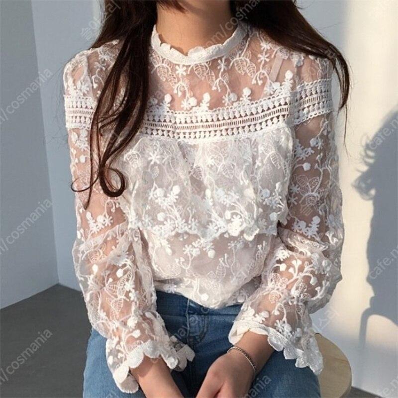2018 coréen haut pour femme Blouses acétate Promotion mode o-cou pleine grande taille Blusa nouvelle dentelle manches creux lâche chemise femme