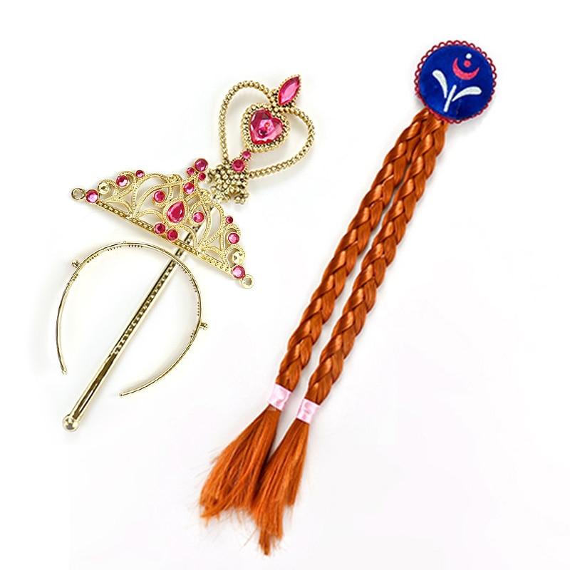 Girls elsa anna princess tiara crown wig magic wand hair for Anna wand