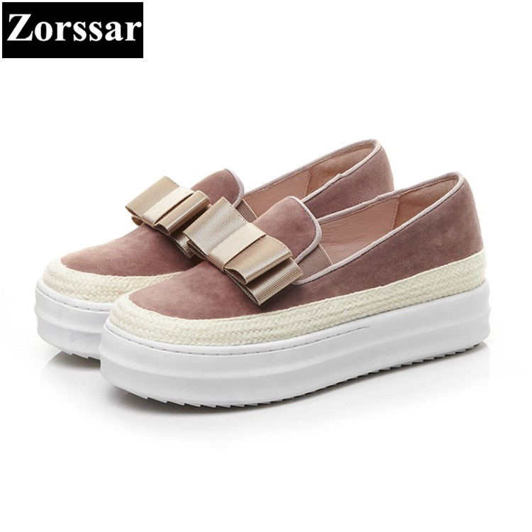 {Zorssar} 2018 high quality womens flats shoes Fashion bow-knot Real leather woman loafers casual slip on women platform shoes 2017 summer new fashion sexy lace ladies flats shoes womens pointed toe shallow flats shoes black slip on casual loafers t033109
