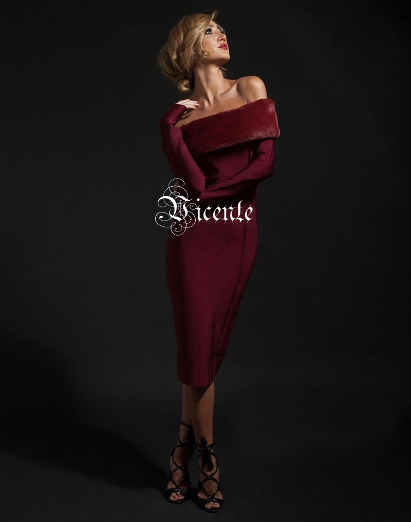 Gros Bandage De Vicente Bourgogne Femmes Hot 2019 En Longues Manches L'épaule Fourrure Midi Célébrité Robe Fausse Outre Sexy Élégant Chic New UrZ1U