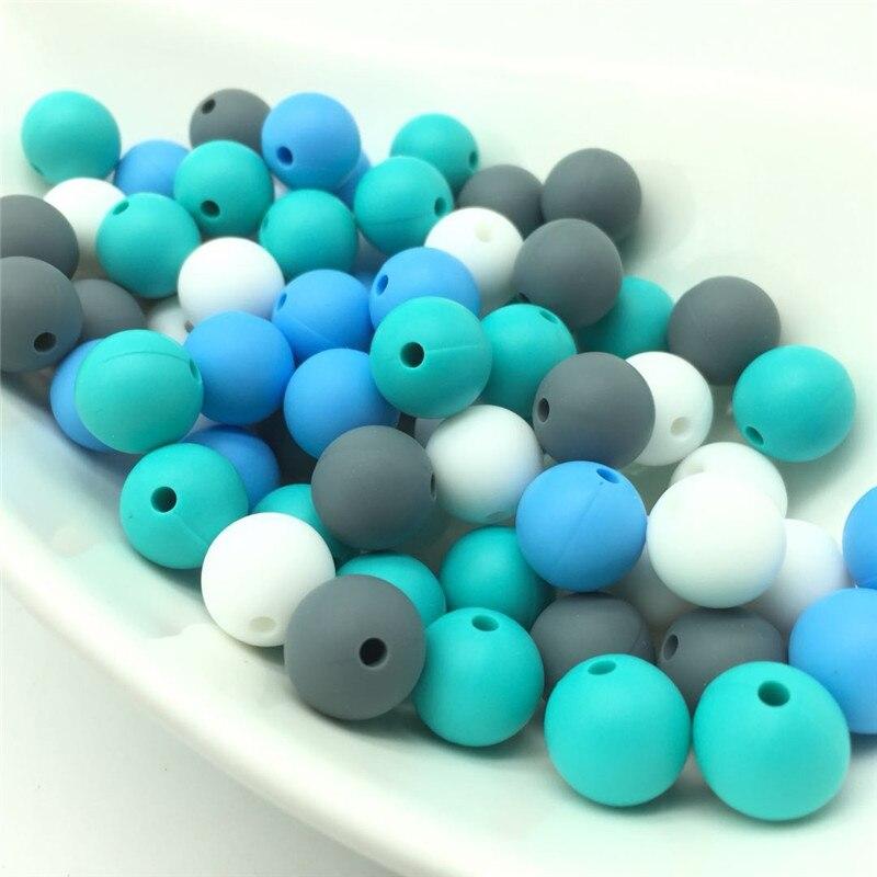 40 Stücke Silikon Perlen Baby Zahnen Anhänger Sicheres Spielzeug Runde Perlen Schnuller Kette Leine Dekoration Bpa Frei 12mm Perles Bälle