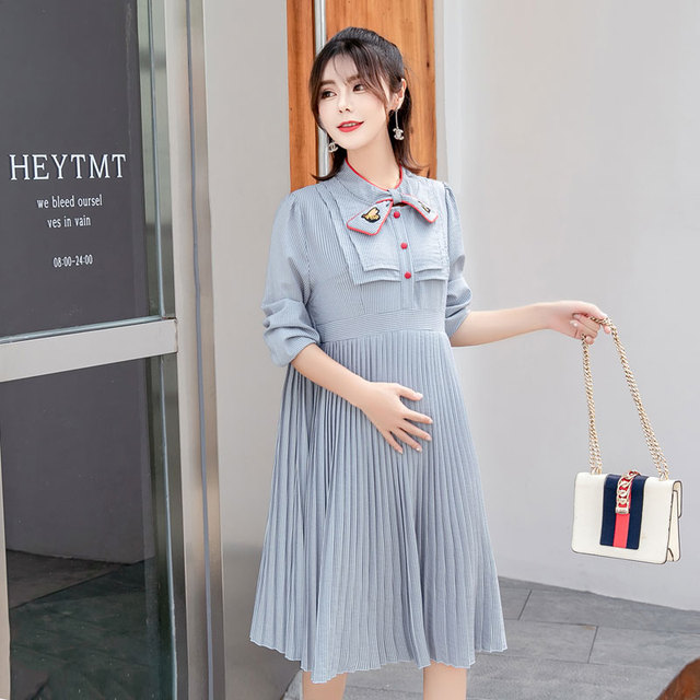 2c9a17ffb0 8857  Sweet Quality Strip Pleated Maternity Dress 2018 Autumn Korean  Fashion Clothes for Pregnant Women Fall Pregnancy Clothing