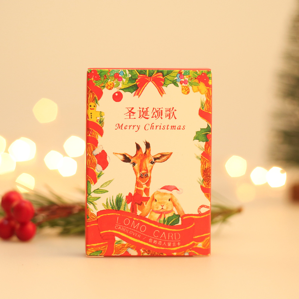28 Cards/ Lot  Christmas Carol LOMO Card  52*80mm Cartoon Animal Small Gift Card Mini Bookmark Message Card 350G Paper