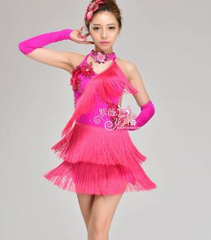 Free Shipping latin dance dress for girls Child Latin dance costume latin dance competition clothing child Latin dance clothes