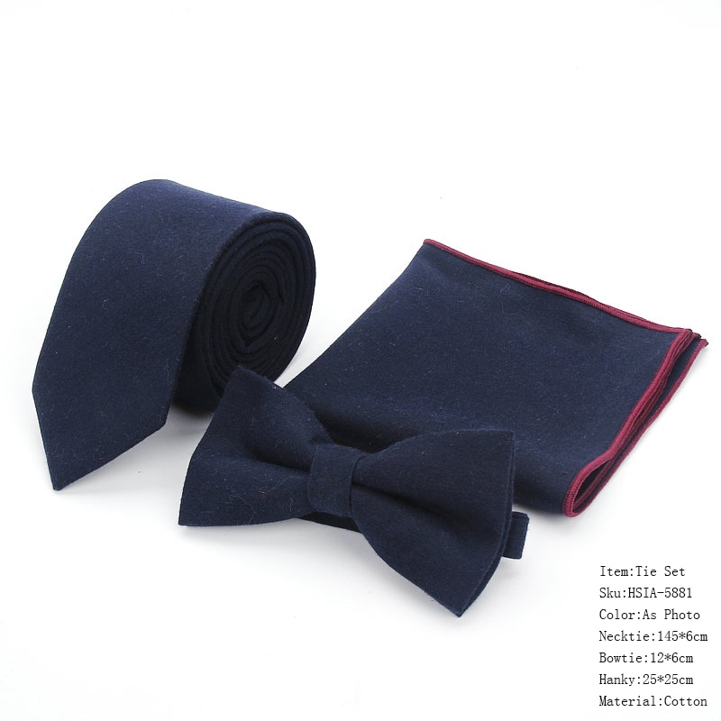 Brand New Men's 100% Cotton Designer Skinny Navy Solid Black Pocket Square Handkerchief Butterfly Bow Tie Neck Ties Set 13Colors