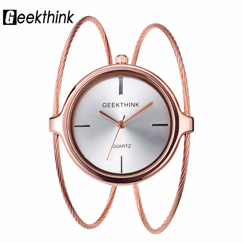 GEEKTHINK Unique Fashion Brand Quartz Watch Women Bracelet Ladies Rose Gold Watch female Luxury Double Ring steel band casual