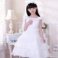 Free Shipping 2014 New Arrival Korean Fashion Children Wedding Flower Girl Dress Princess Cake Baby Girl