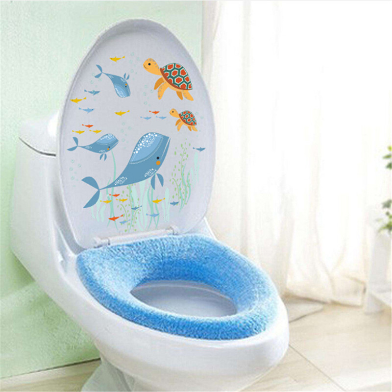 US $1.12 28% OFF|Fish Underwater World Toilet bathroom sticker waterproof  Home Decoration refrigerator swimming pool Decals Sticker IC972556-in Wall  ...
