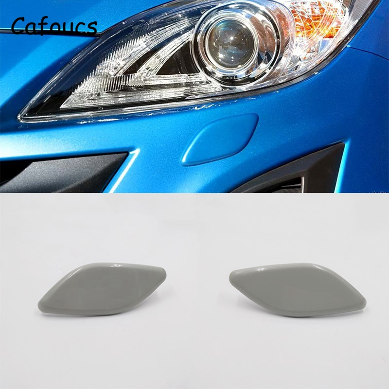 Cafoucs Headlamp Water Spray Jet Cover For Mazda 3 2009-2011 Car Headlight Washer Nozzle Cap BBP3-518G1 BBP3-518H1
