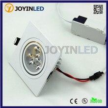 10 шт./лот, 3 Вт, 6 Вт, AC85-265V, квадратный белый цвет, светодиодный потолочный светильник
