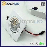 Frete grátis 10 pçs/lote 3W 6W AC85-265V Quadrado tinta Branca led Spot Teto Iluminações
