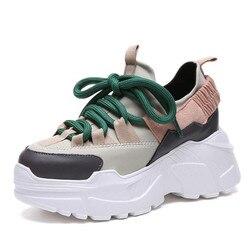 2018 New Women White Platform Sneakers Winter Sneakers Women Waterproof Shoes Woman Height Increasing 7cm Chunky Wedge Shoes
