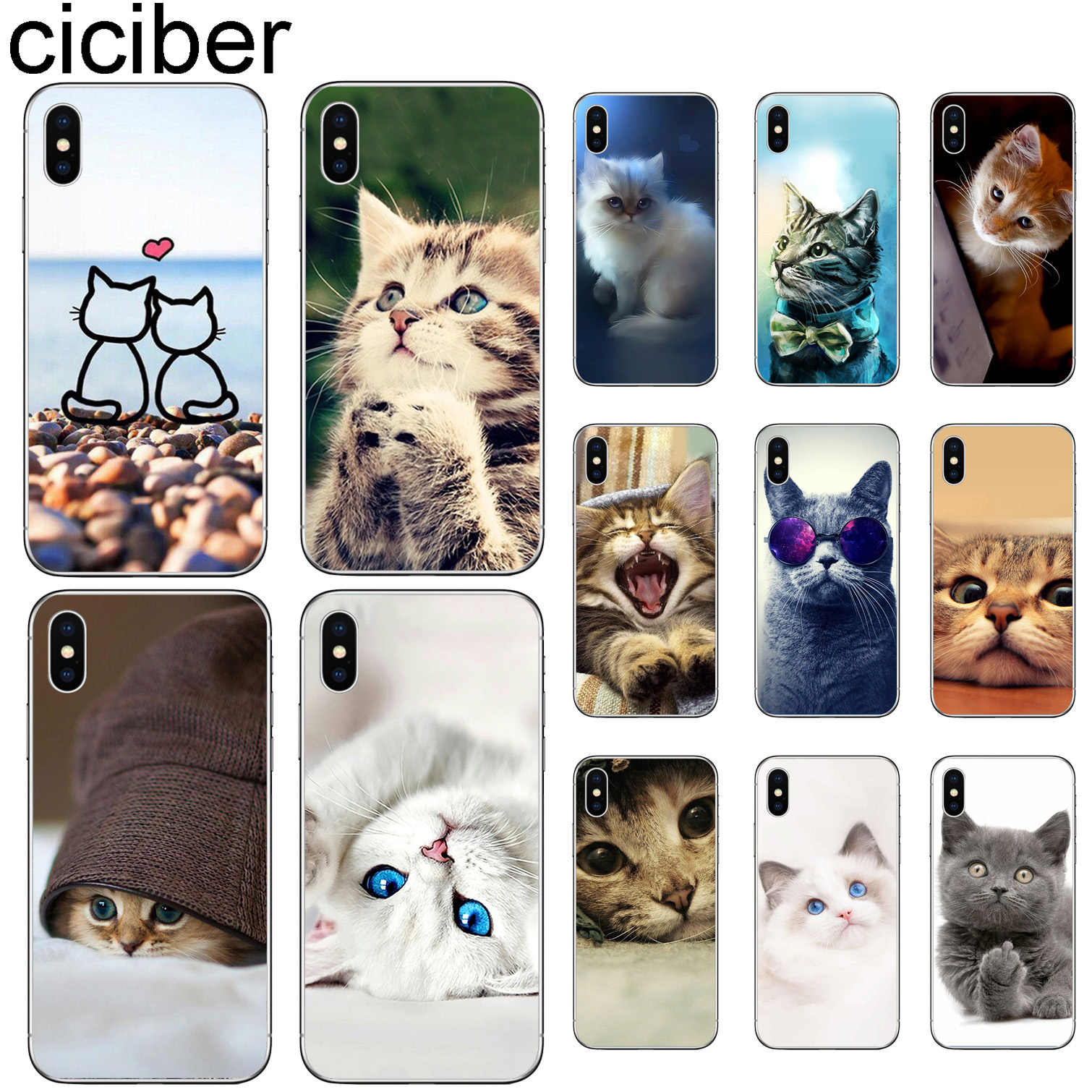 ciciber Cute Cat Kitten Phone Cases For iPhone 11 Pro XR X XS MAX Funda Coque For Iphone 7 8 5S 6 6S Plus SE Soft TPU Cover Capa