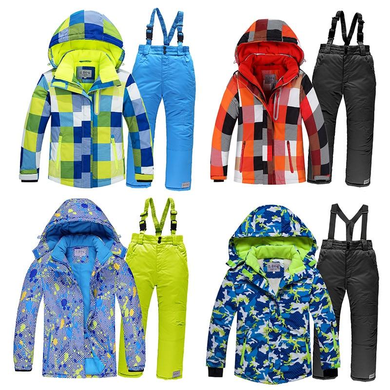 2019 Boys Skiing Suits Fleece Hood Jackets Overalls Children Snow Sets Waterproof Sport Kids Ski Clothing Set Windproof Outfits