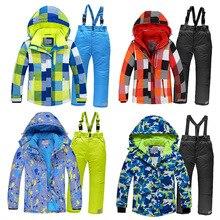 2020 Bé Trai Trượt Tuyết Phù Hợp Với Trang Hood Áo Khoác Áo Liền Quần Trẻ Em Tuyết Bộ Thể Thao Chống Thấm Nước Trẻ Em Trượt Tuyết Bộ Quần Áo Chống Gió Trang Phục