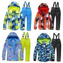 2020 Boys Skiing Suits Fleece Hood Jackets Overalls Children Snow Sets Waterproof Sport Kids Ski Clothing Set Windproof Outfits