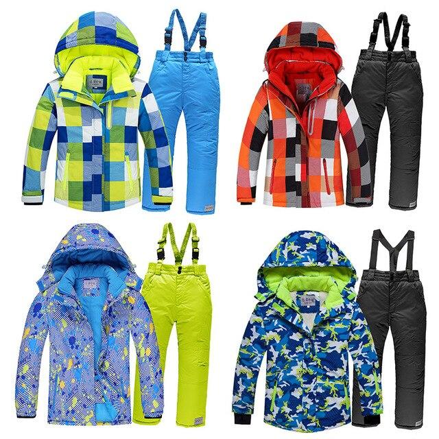 Лыжные костюмы для мальчиков 2020, флисовые куртки с капюшоном, комбинезоны, детские зимние комплекты, водонепроницаемый спортивный детский лыжный комплект одежды, ветрозащитная одежда