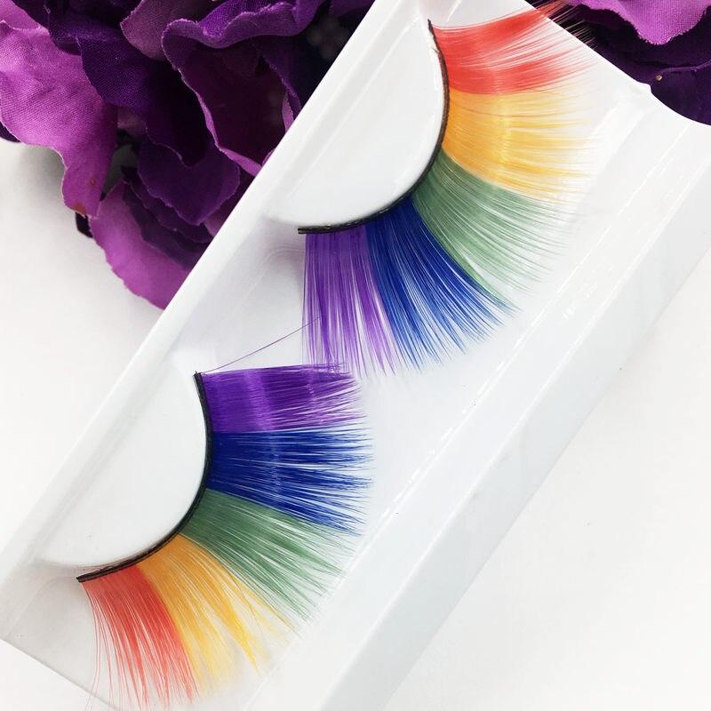 YOKPN Artificial False Eyelashes Exaggerated Colour Stage Handmade Long Thick Eyelashes Artistic Makeup Eyelashes Feathe Lashes