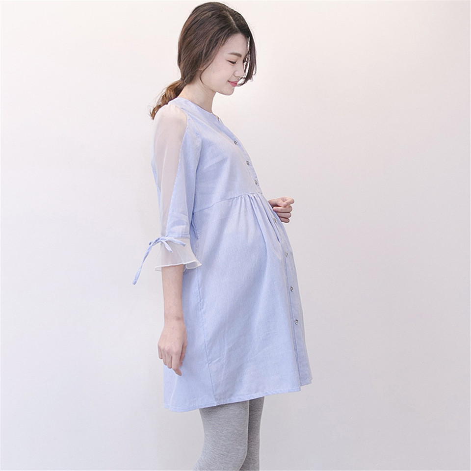 800a75cc8ff5 Waist Pleated Cotton Maternity Women Shirt Maternidade Summer Blouse Tops  Clothes Plus Size Pregnant Women Pregnancy Clothing-in Blouses   Shirts  from ...