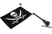 21 Diamond Plate Motorcycle Long Flag Extended Pole Aluminum Mount Skull Flag