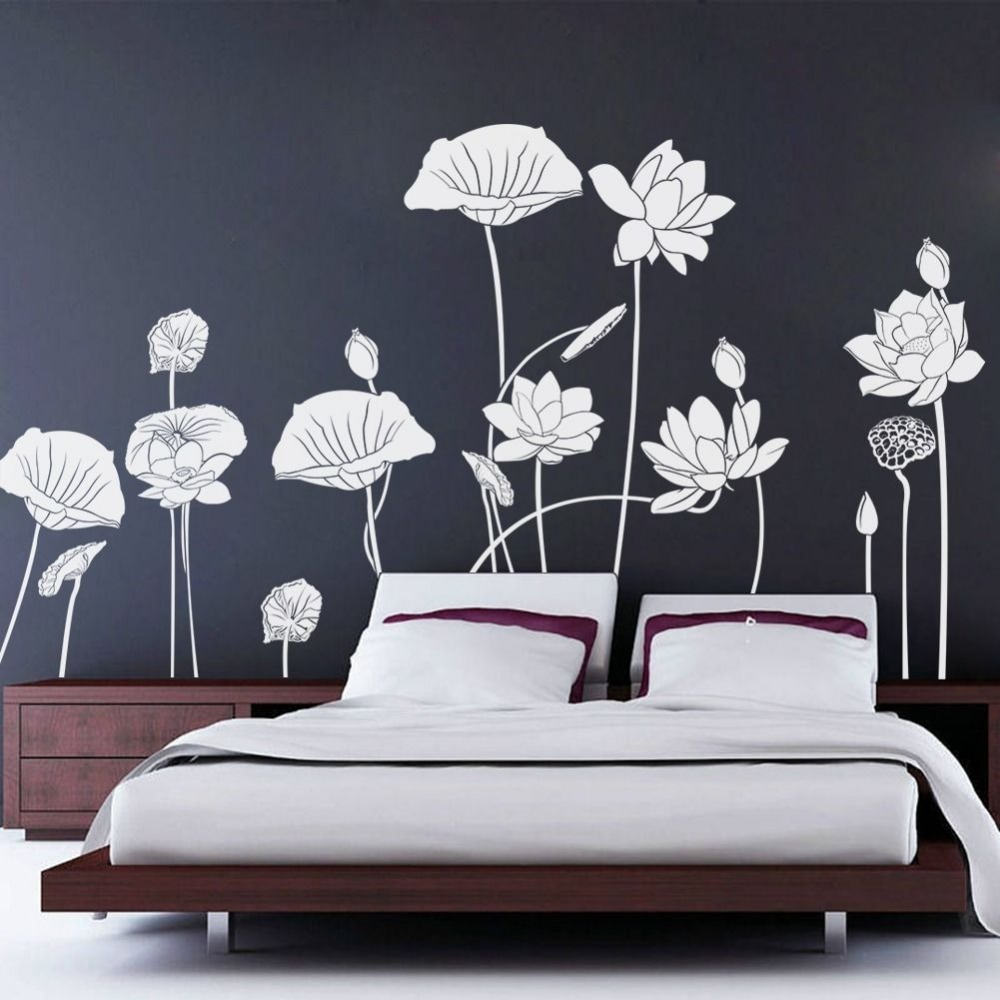 Plus size lotus flower beautiful decals quote wall stickers home plus size lotus flower beautiful decals quote wall stickers home wall decor wallpaper 227x116cm wall art waterproof mural d927 in wall stickers from home izmirmasajfo