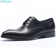 Genuine Cow Leather Pointed Toe Men's Fashion Dress Shoes Oxfords Black Wine Red Luxury Designer Lace-up Suit Shoes pjcmg fashion black red wine lace up pointed toe striped decoration genuine leather business formal casual oxfords shoes for man