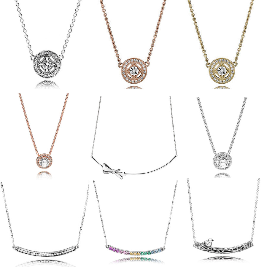48345997c Rose Gold Allure Collier Brilliant Bow Rainbow Arcs Of Love Necklace For  Women Gift Pandora Jewelry