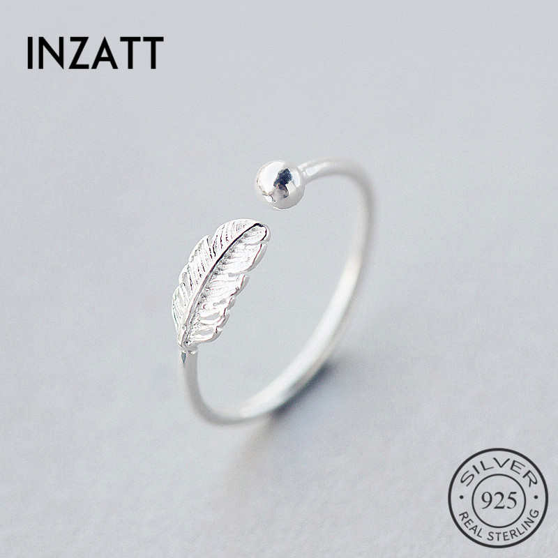 INZATT Authentic 925 Sterling Silver Cute Feather Adjustable Ring Fine Jewelry For Women Party Elegant Accessories