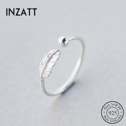 INZATT Otantik 925 Ayar Gümüş Sevimli Tüy Kişilik Ayarlanabilir Yüzük Güzel Takı Kadınlar Için Parti Zarif Aksesuarları