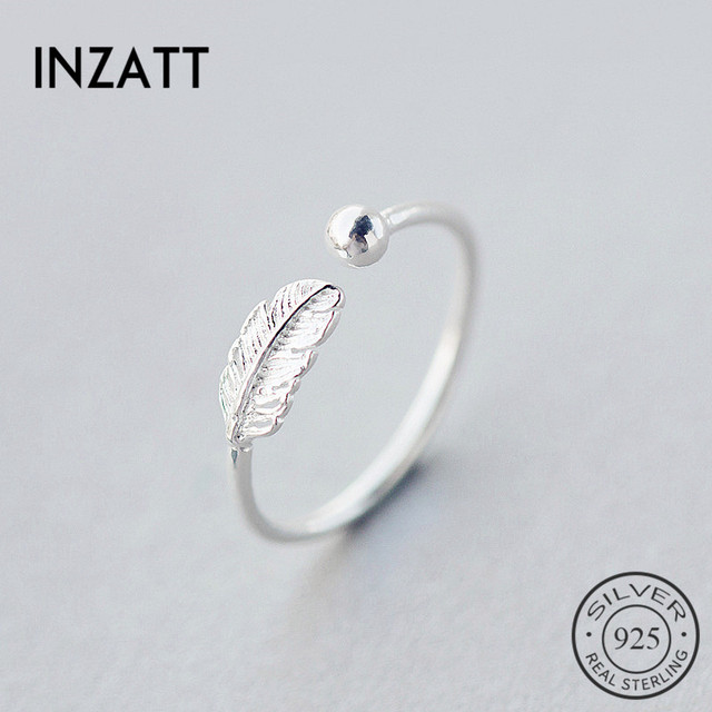 INZATT autentyczne 925 Sterling Silver śliczne pióro osobowości regulowany pierścień biżuteria dla kobiet Party eleganckie akcesoria