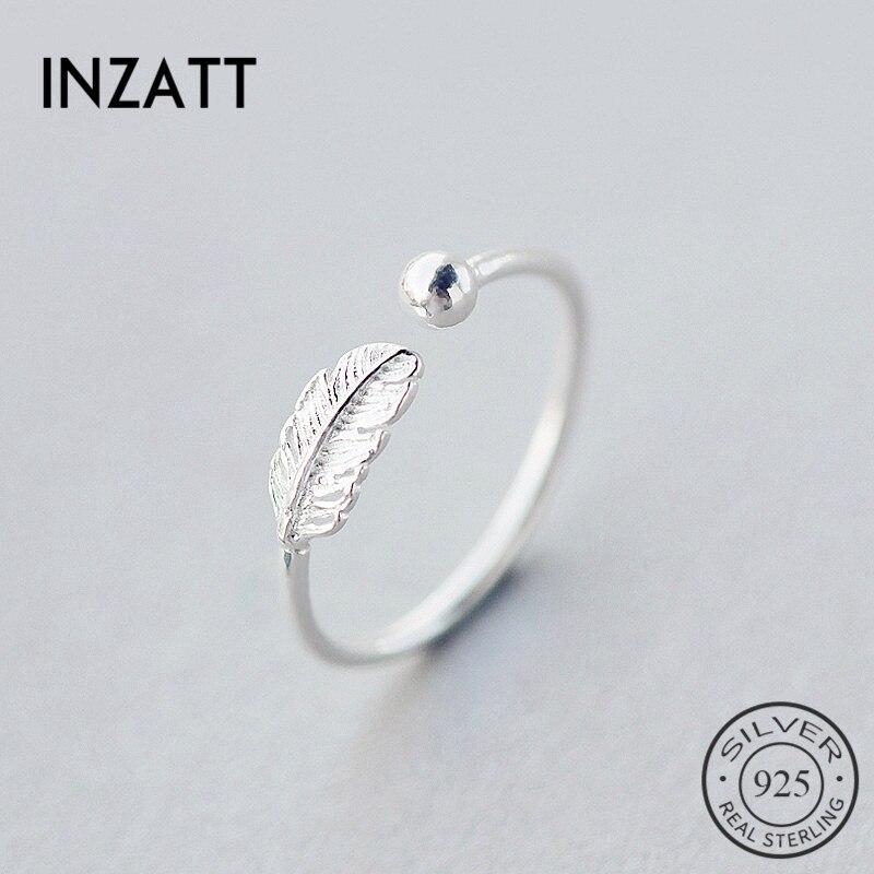 INZATT authentique 925 argent Sterling mignon plume personnalité anneau réglable bijoux fins pour les femmes fête accessoires élégants