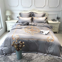 New Egypt cotton Embroidery luxury Bedding sets grey purple queen/king size adults bed sheet set duvet cover pillowcases 4/6 38