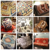 High Quality LOFT Retro Rustic Geometric Soft Blanket Art Decor Tapestry Sofa Leisure Cushion Shawl Blanket Wall Hanging