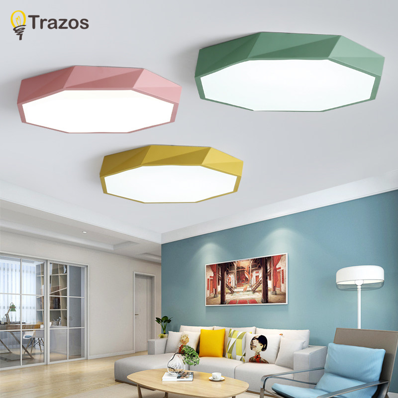 TRAZOS Designer Modern Metal LED Ceiling Lights White Black Round Rectangular Dimmable Lamps For Bedroom Corridor Living Room modern metal led dimmable white black square lamp for bedroom corridor living room ceiling lamp
