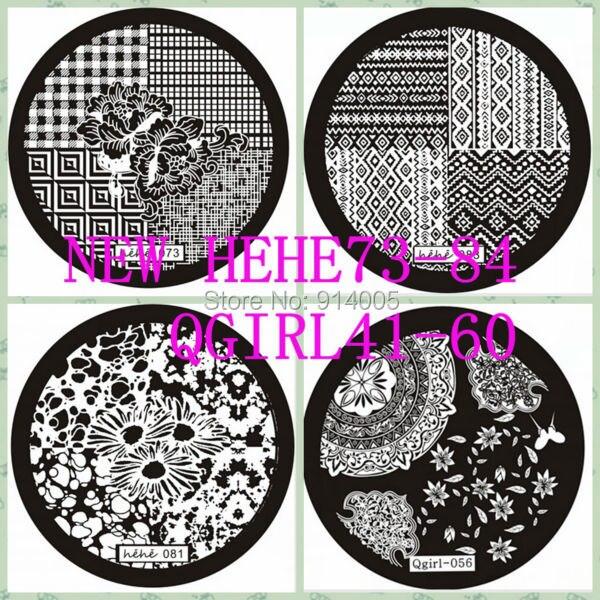 Envío gratuito nueva hehe001-084 / Qgirl001-060 nail art placa de la imagen plantilla del clavo diseños que eligen herramientas de belleza de uñas