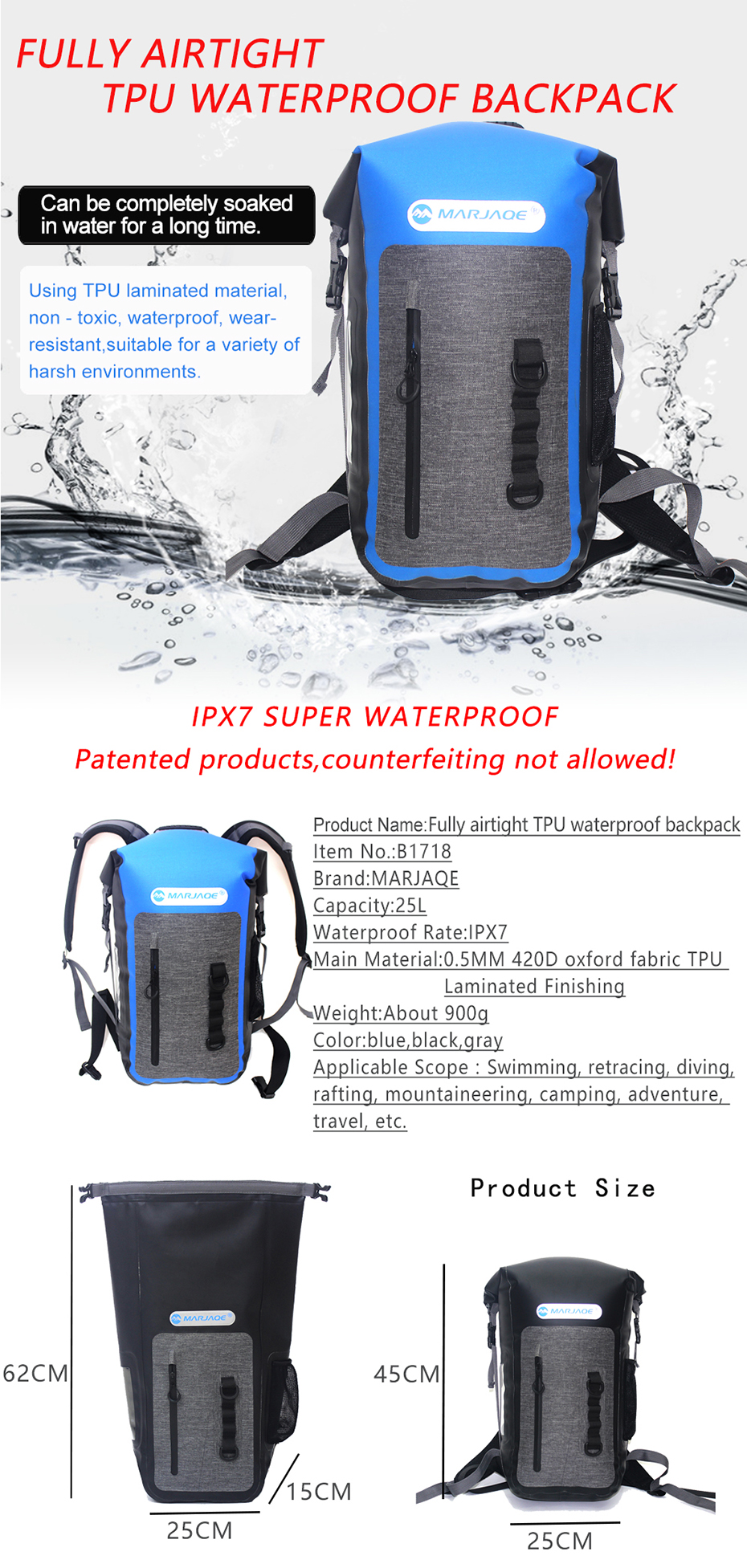 3adac7fd4620 2019 MARJAQE 25L Fully Airtight TPU Waterproof Backpack Outdoor ...