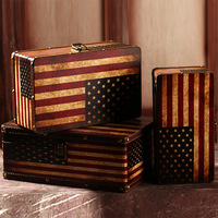 Vintage home decor retro suitcase Wooden storage box studio pictures display props Decorative Box Shabby Chic 3pcs/set