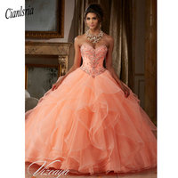 2019 Newest Sweet 15 Year Coral Quinceanera Dresses with Jacket Organza Beaded Sequin Lace Up Ball Gown Birthday Party Dress
