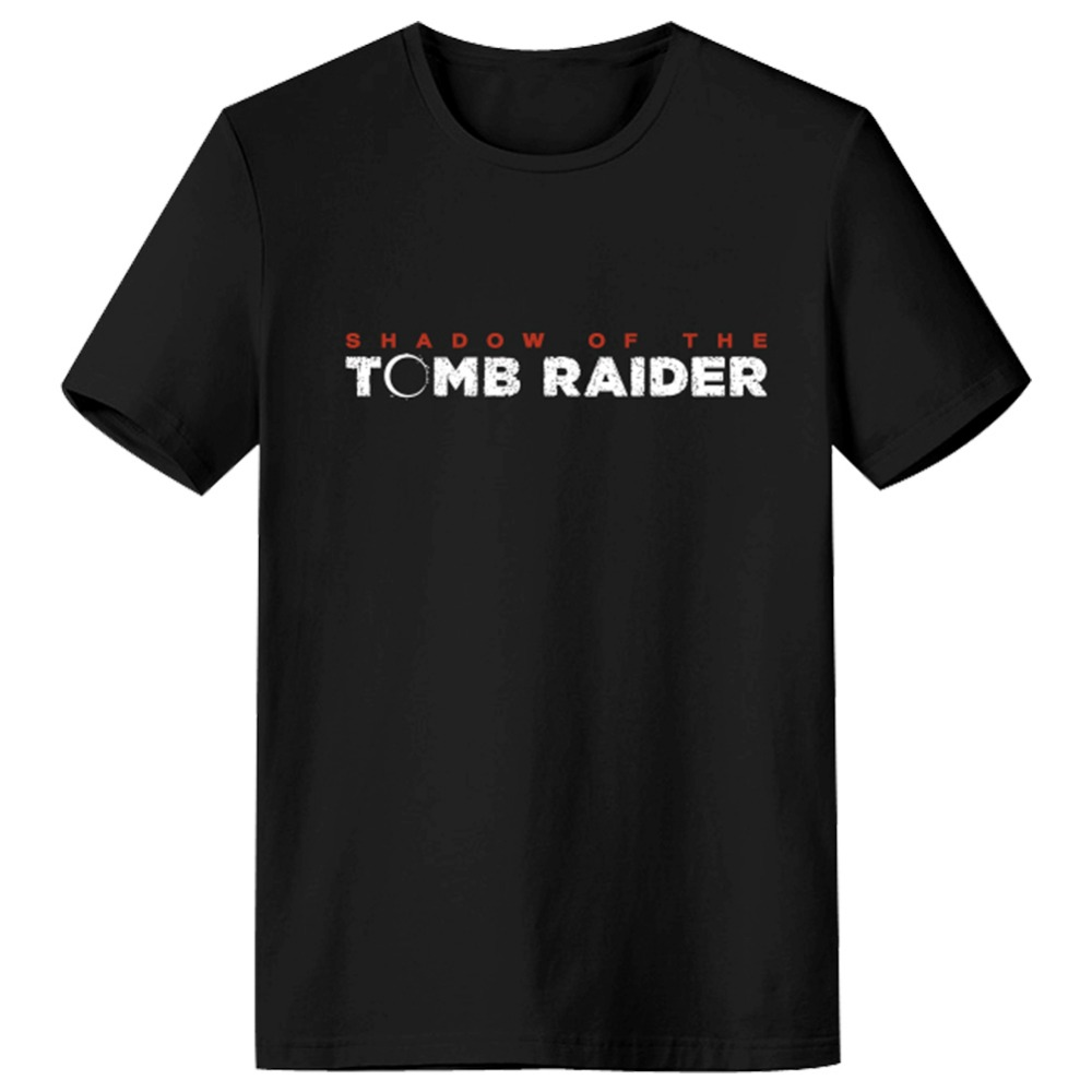 Tomb Raider T-Shirt Black Cotton O-neck T Shirt Summer Short Sleeve Tee Shirt