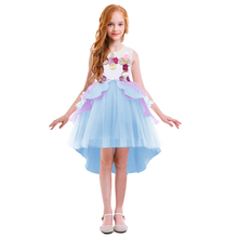 Cute Child Girls Flower Unicorn Dress Sleeveless High-low Hem Tulle Ball Gown Dress Kids Unicorn Cosplay Party Princess Dress high low raw hem marled knit tee dress