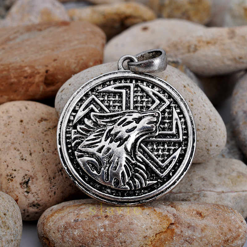 Винтажный браслет с металлической вставкой подвеска с дизайном «волк» языческие украшения амулет животных кулон античное серебро