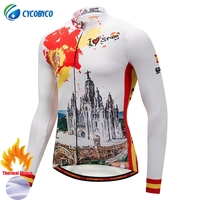 Cycobyco Winter Thermal Fleece Top Cycling Jersey Bike Maillot Ropa Ciclismo Long Sleeve Clothing USA,Italy,France,Brazil,Spain