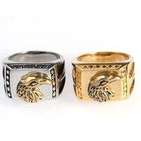 China Nuevo Diseño de Lujo Plateado Águila Cabeza de Dragón Anillo Del Dedo Para Los Hombres